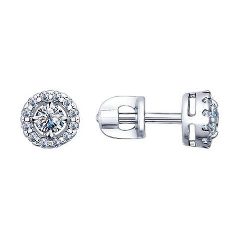 Серьги-пусеты из серебра с фианитами арт.94021761