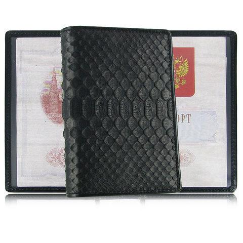 Стильная чёрная обложка для паспорта из натуральной экзотической кожи питона QUARRO AP-060