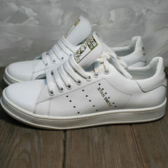 Белые кожаные кеды женские Adidas Stan Smith White-R A14w15wg