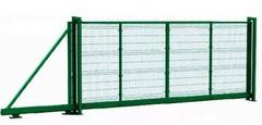 Откатные ворота с заполнением сеткой 4000х2000 ЭКО