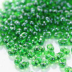 56120/ Бисер Preciosa Фарфаль (Farfalle) 4х2 мм прозрачный блестящий зеленый