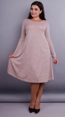 Альбина. Платье на каждый день больших размеров. Пудра.