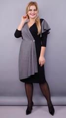 Алма. Нарядное платье для женщин плюс сайз. Черный.