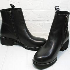 Красивые полусапожки женские Jina 6845 Leather Black.