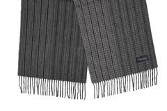 Шерстяной шарф, мужской серый полосатый 30122