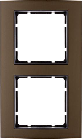 Рамка на 2 поста алюминий. Цвет Коричневый/Антрацит. Berker (Беркер). B.3. 10123001