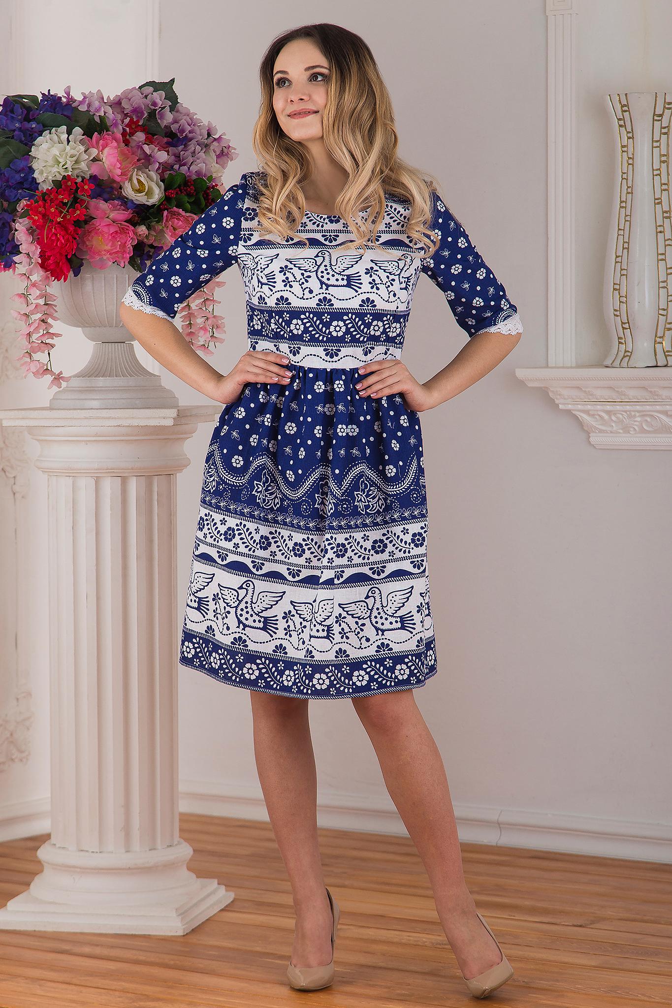 Платье льняное современное Синяя птица от Иванка