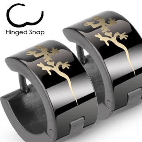Стильные чёрные серьги кольца с ящерицей из нержавеющей ювелирной медицинской хирургической стали 316L SPIKES SE2012