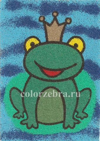 Трафарет для цветного песка Царевна-лягушка А4