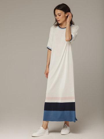 Платье в молочном цвете прямого силуэта из шелка с вискозой, легкое и струящееся - фото 1