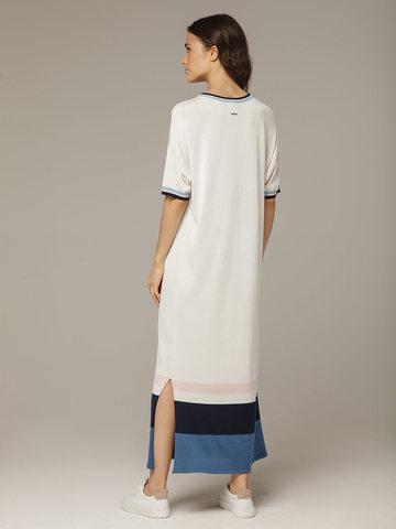 Платье в молочном цвете прямого силуэта из шелка с вискозой, легкое и струящееся - фото 2