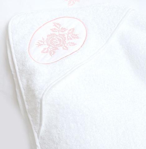Полотенце детское 100х100 Luxberry Rose с капюшоном белое/розовое