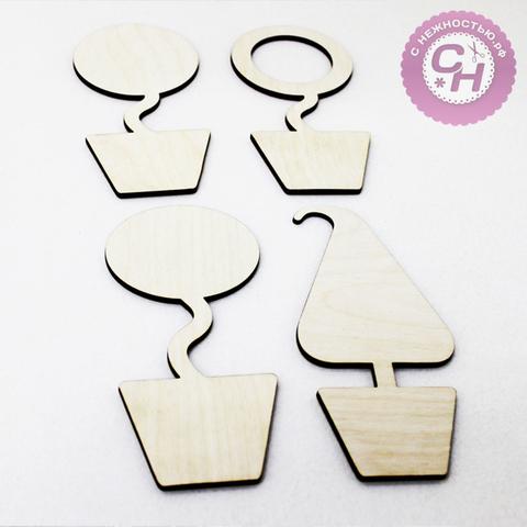 Магнит топиарий деревянный, 13*6 см, заготовка для творчества.