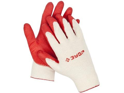 ЗУБР УНИВЕРСАЛ, размер L-XL, перчатки с одинарным латексным обливом, 10 пар в упаковке, 11458-K10