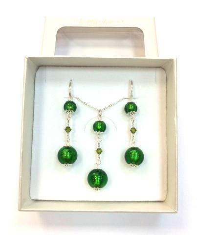 Комплект Primavera Emerald (серьги, подвеска)