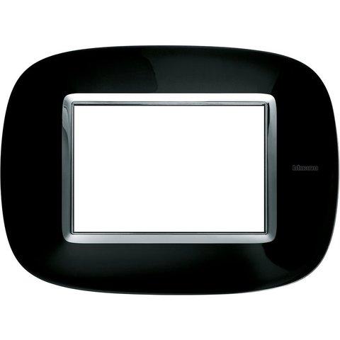 Рамка 1 пост, овальной формы. МЕТАЛЛИЗИРОВАННЫЕ. Цвет Роскошный чёрный. Итальянский стандарт, 3 модуля. Bticino AXOLUTE. HB4803NR