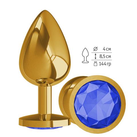 Gold Анальная втулка с Синим кристаллом большая