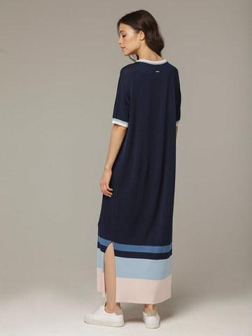 Темно-синее платье прямого силуэта из шелка с вискозой, легкое и струящееся - фото 2