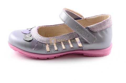 Туфли для девочек кожаные на липучке Тотто, цвет сиреневый, 10210B. Изображение 3 из 12.