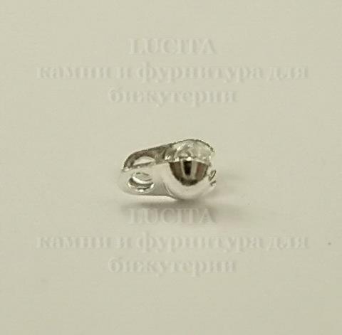 Концевик для маскировки узелка 4х3,5 мм, (цвет - серебро ), 20 штук