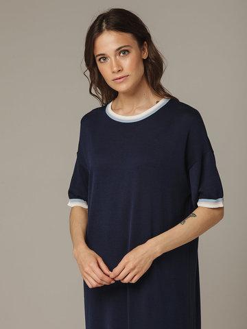 Темно-синее платье прямого силуэта из шелка с вискозой, легкое и струящееся - фото 4