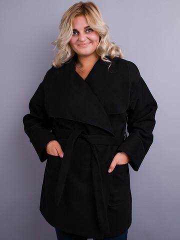 Софи. Стильное пальто плюс сайз. Черный.