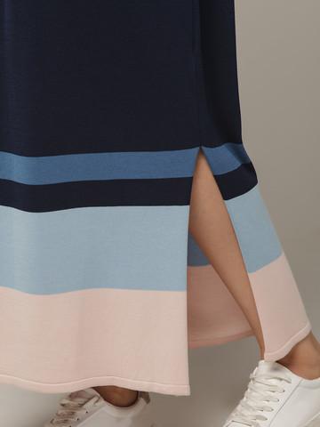 Темно-синее платье прямого силуэта из шелка с вискозой, легкое и струящееся - фото 3