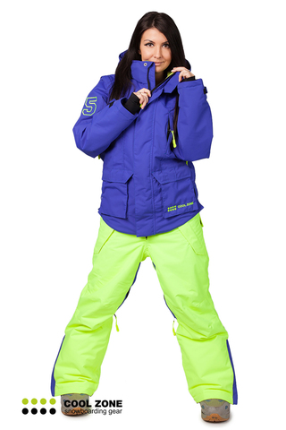 Сноубордический комбинезон Cool Zone 3в1 синий-салат женский