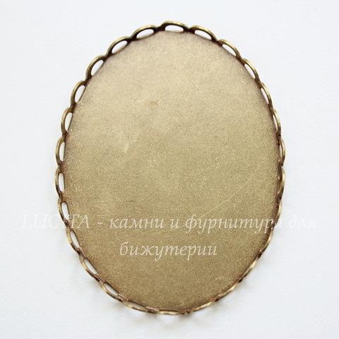 Сеттинг - основа для камеи или кабошона 40х30 мм (оксид латуни)