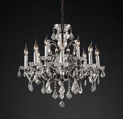 19th C. Rococo Iron & Clear Crystal Round Chandelier 28