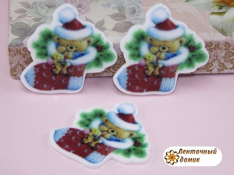 Плоский декор Носок с мишкой (глянец)
