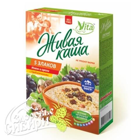 Vita Живая каша 5 злаков с изюмом и орехами, витаминами, пребиотиками, 210 г 6 пак по 35 г
