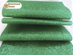 Кожа глиттерная сетка зеленая