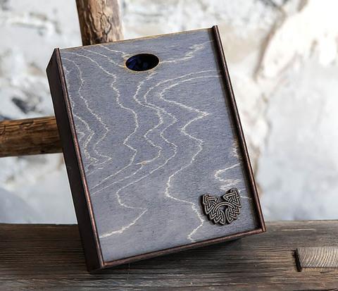 Деревянная фирменная коробка формата А5 (19*15*6 см)