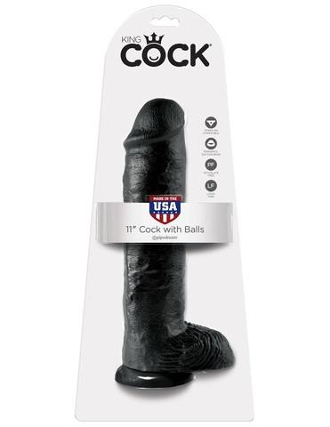 Фаллоимитатор на присоске 11 Cock with Balls черный King Cock фото