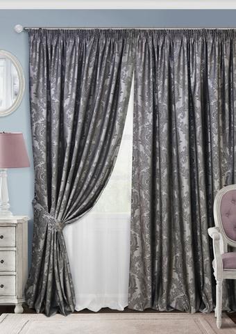 Комплект штор с тюлем и подхватами жаккард Вера темно-серый