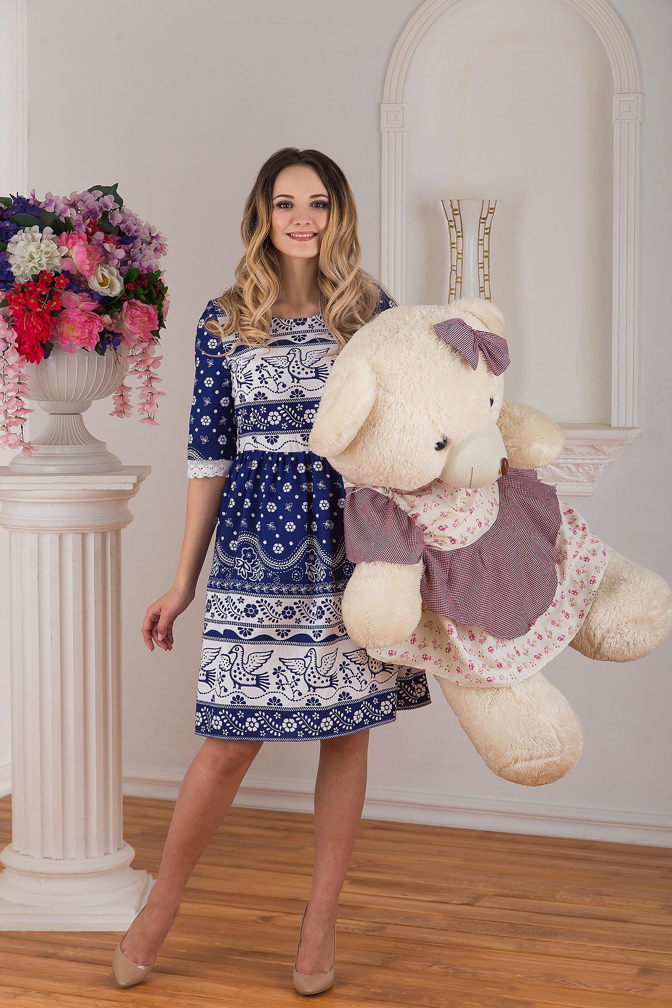 Платье льняное современное Синяя птица от Иванка с медведем