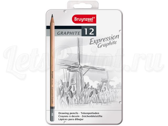 Набор карандашей для графики Bruynzeel Expression 12 типов жесткости, в метал. кор.