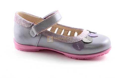 Туфли для девочек кожаные на липучке Тотто, цвет сиреневый, 10210B. Изображение 2 из 12.
