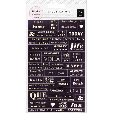 Стикеры с золотым тиснением C'est La Vie от Pink Paislee
