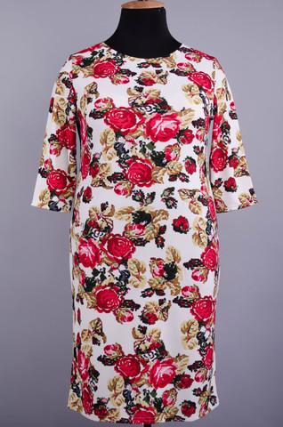 Аріна. Прінтована сукня великих розмірів. Квітка на білому.