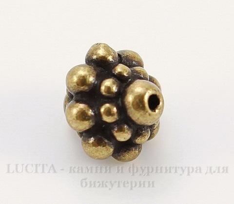 """Бусина TierraCast """"Pamada"""" 8,5х8 мм (цвет-античная латунь)"""