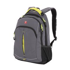 Рюкзак Wenger, серый/лаймовый, со светоотражающими элементами, 32x15x46 см, 22 л