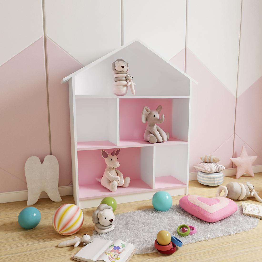 Стеллаж-домик Бело-розовый