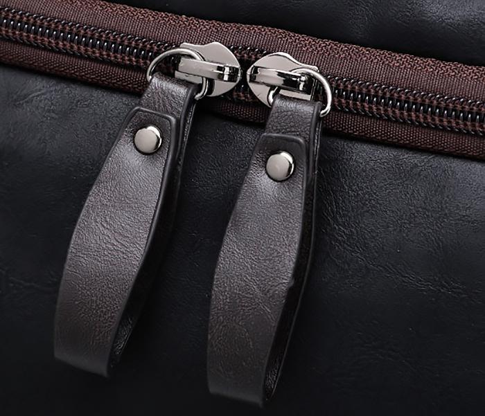 BAG426-2 Мужская сумка коричневого цвета с ремнем на плечо фото 07
