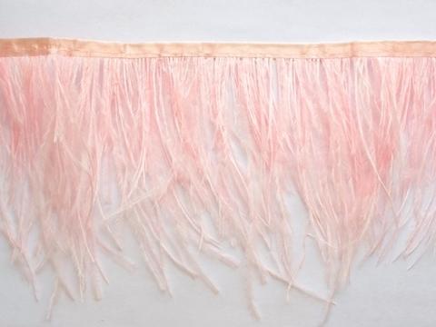 Тесьма  из перьев страуса h 10-15 см., светло-розовый