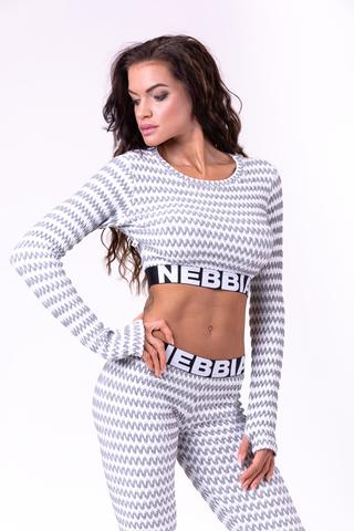 Женский топ с рукавом Nebbia Boho Style longsleeve crop top 660 grey