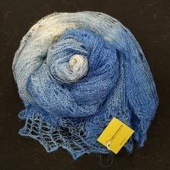 Оренбургский пуховый палантин бело-голубой 45