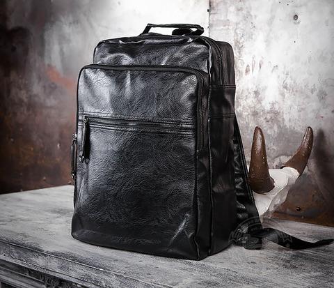 Мужской городской рюкзак из кожи черного цвета
