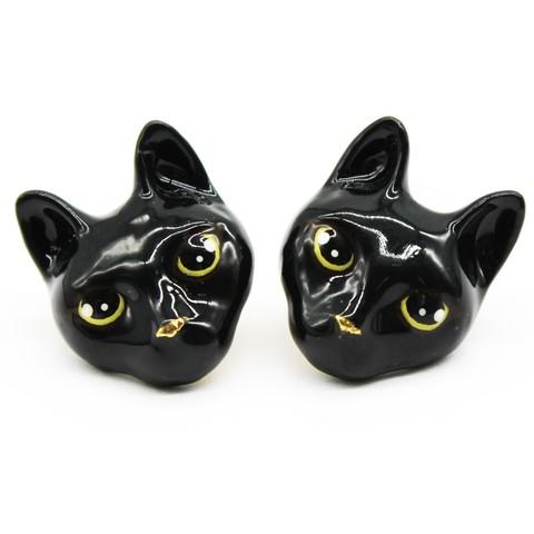 Серьги Кошка (черная)
